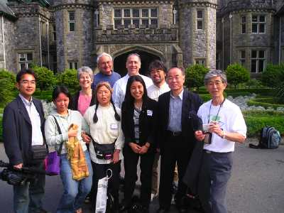 Japanese delegates in front of Royal Roads University